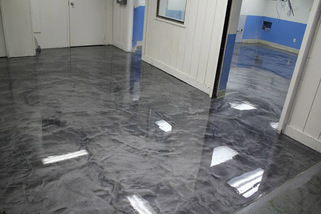 polished marble resin floor